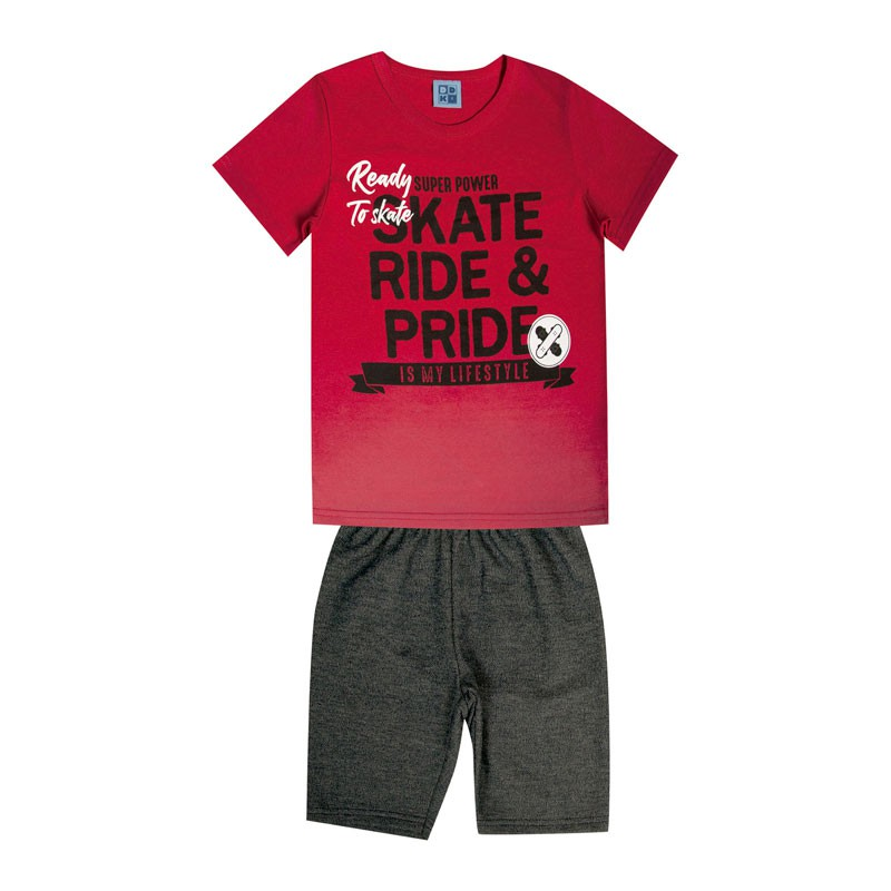 Conjunto Infantil Menino Skate Vermelho