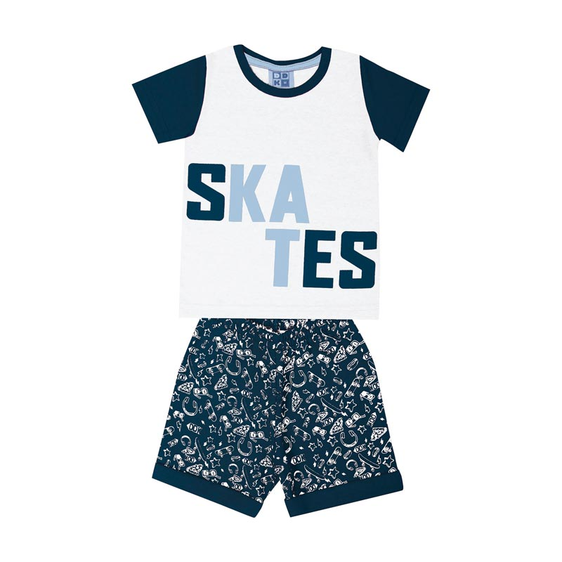 Conjunto Infantil Menino Skates Branco