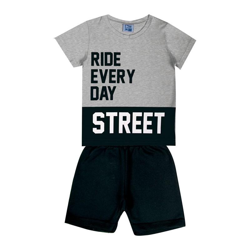 Conjunto Infantil Menino Street Cinza