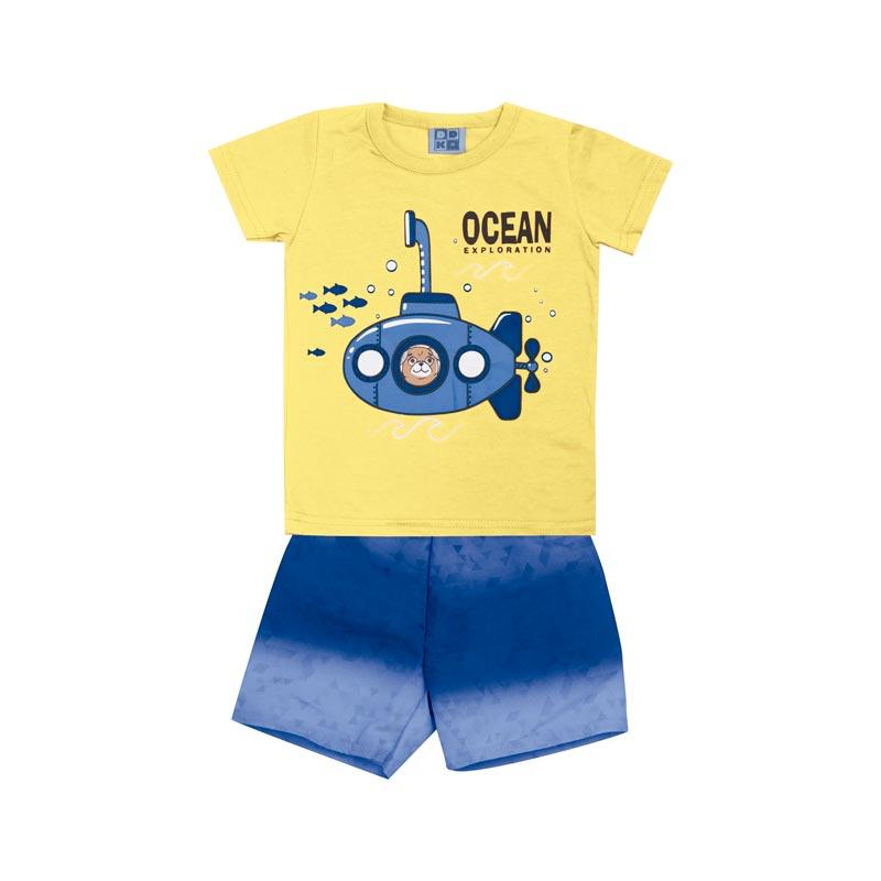 Conjunto DDK Infantil Menino Submarino Amarelo