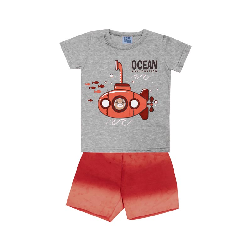 Conjunto DDK Infantil Menino Submarino Cinza