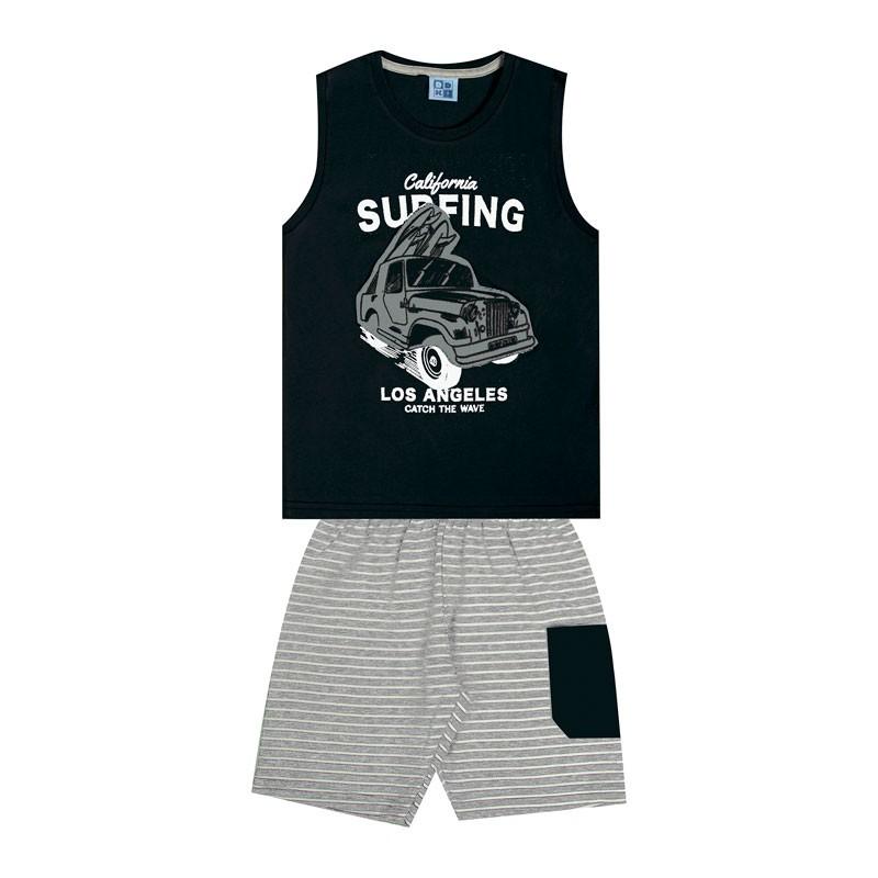 Conjunto DDK Infantil Menino Surfing Preto