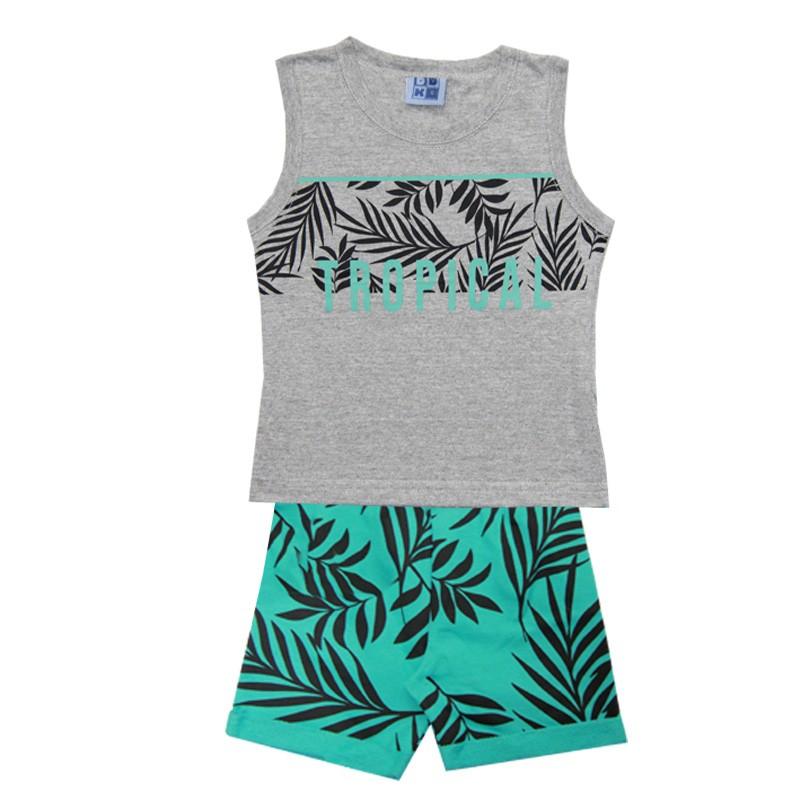 Conjunto Infantil Menino Tropical Cinza