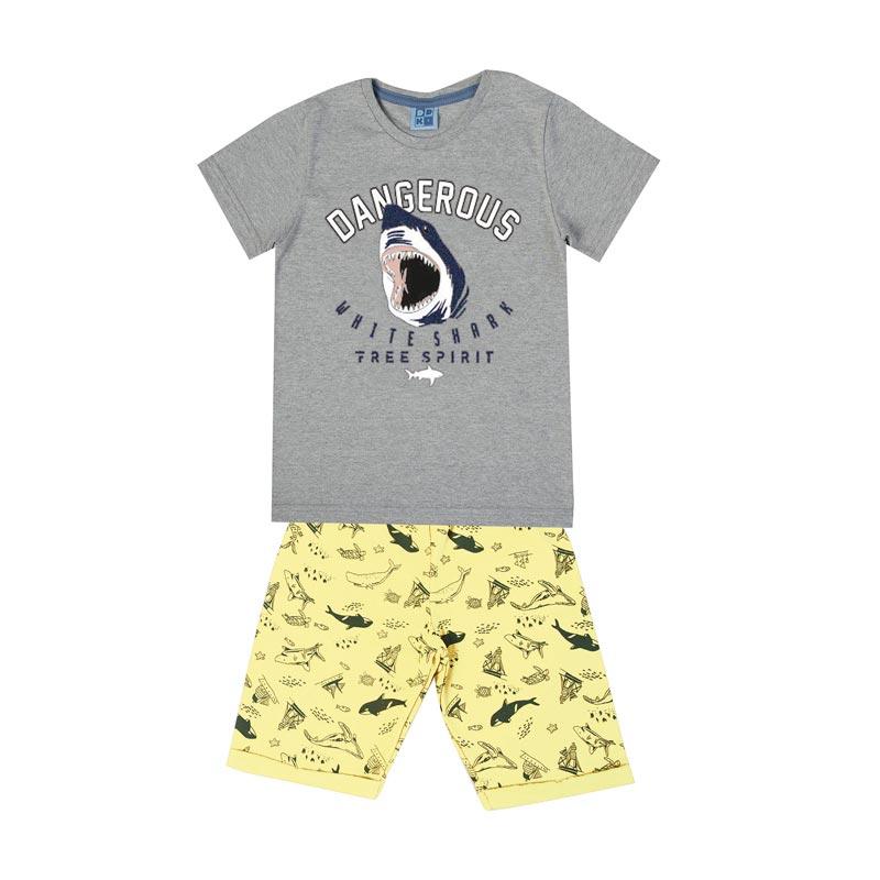Conjunto Infantil Menino Tubarão Cinza