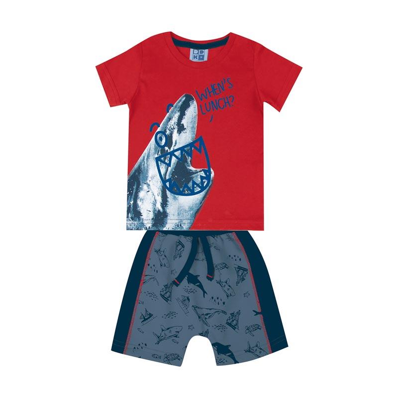 Conjunto Infantil Menino Tubarão Vermelho