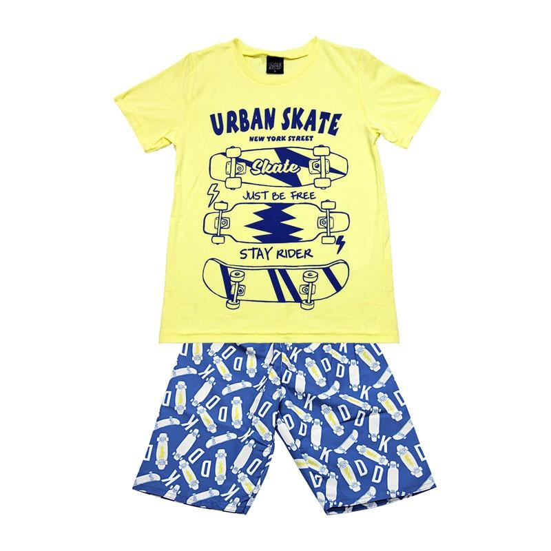 Conjunto Infantil Menino Urban Skate Amarelo