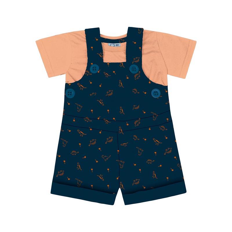 Conjunto DDK Jardineira Infantil Menino Azul