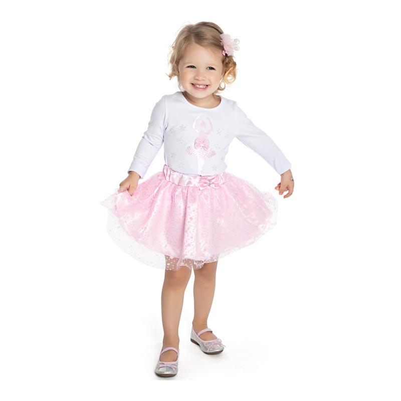 Conjunto Paytê Infantil Menina Bailarina Branco