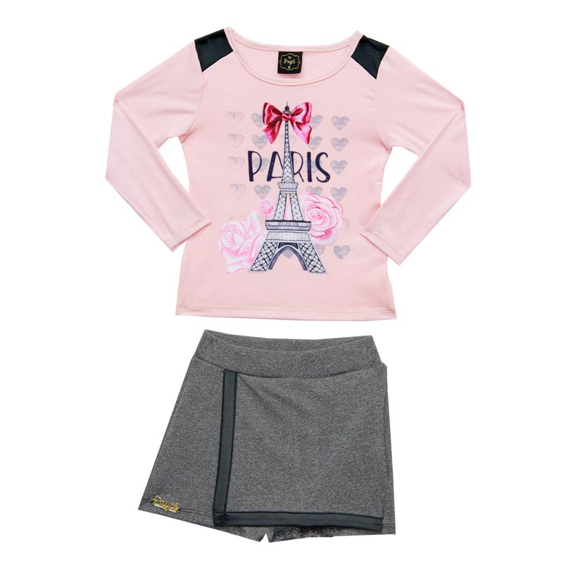 Conjunto Paytê Infantil Menina Paris Rosa