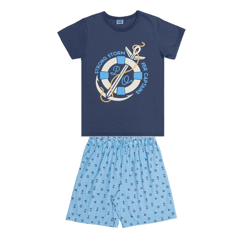 Conjunto Pijama DDK Camisa Ancora e Bermuda Azul