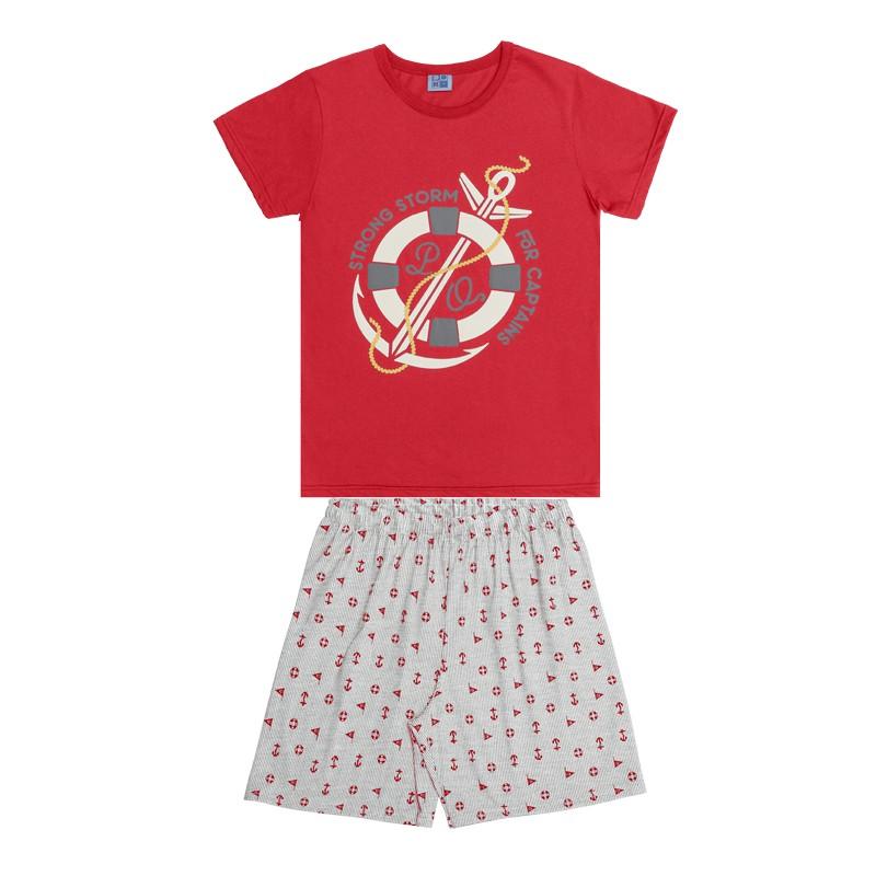 Conjunto Pijama DDK Camisa Ancora e Bermuda Vermelho