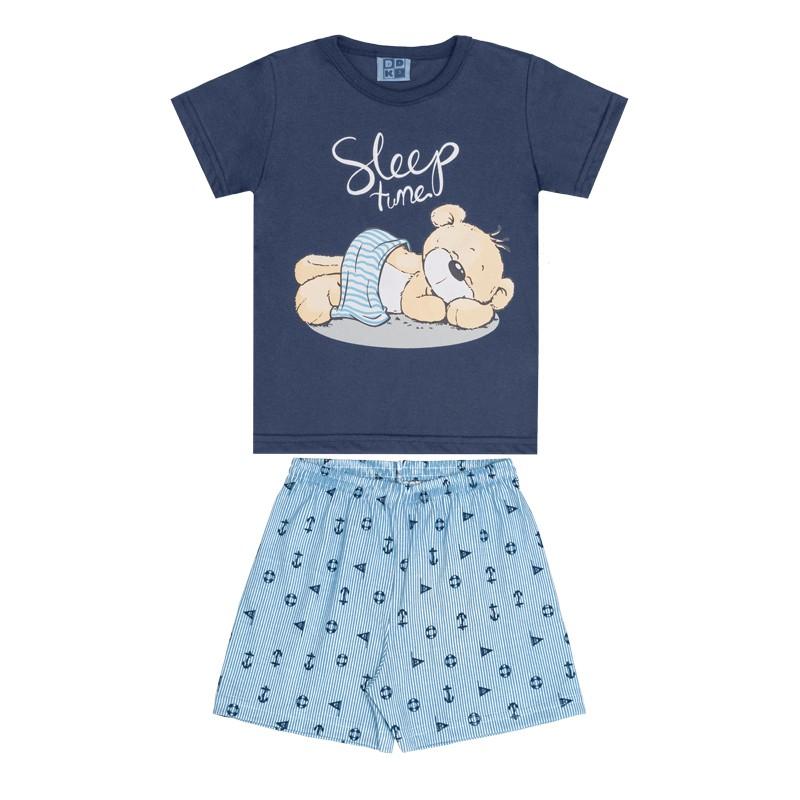 Conjunto Pijama DDK Camisa e Bermuda Azul