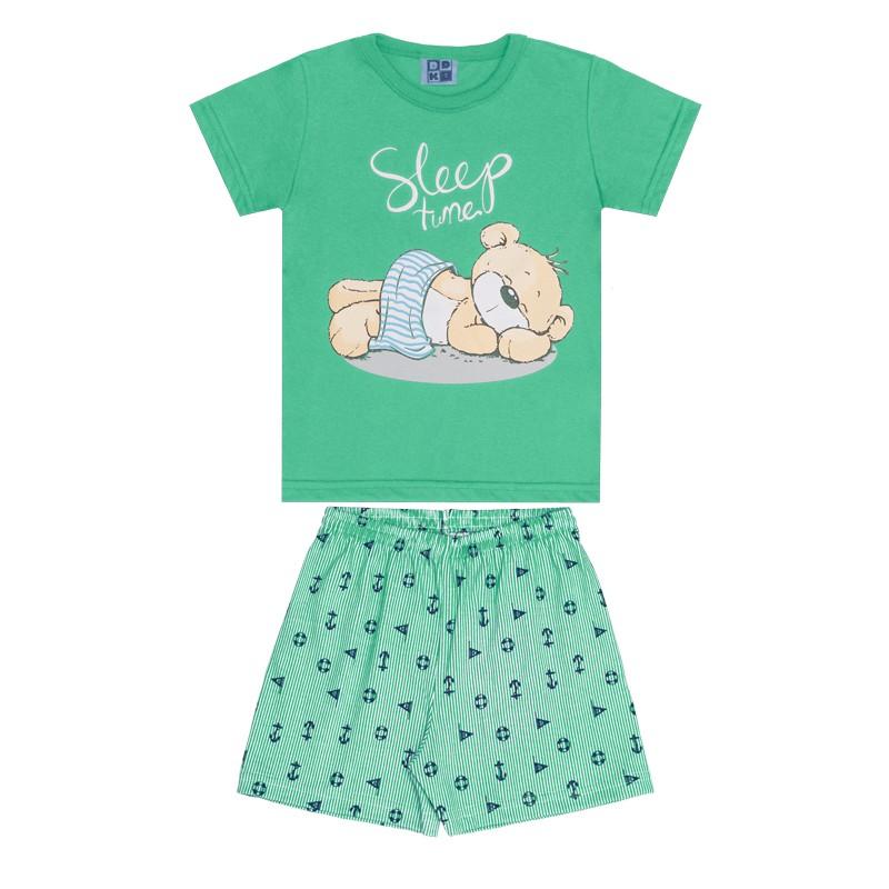 Conjunto Pijama DDK Camisa e Bermuda Verde