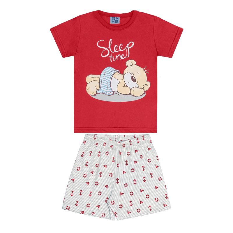 Conjunto Pijama DDK Camisa e Bermuda Vermelho