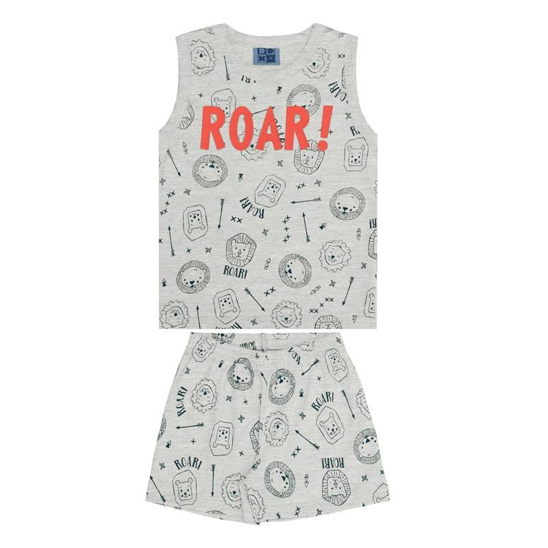 Conjunto Pijama DDK Infantil Menino Roar Cinza