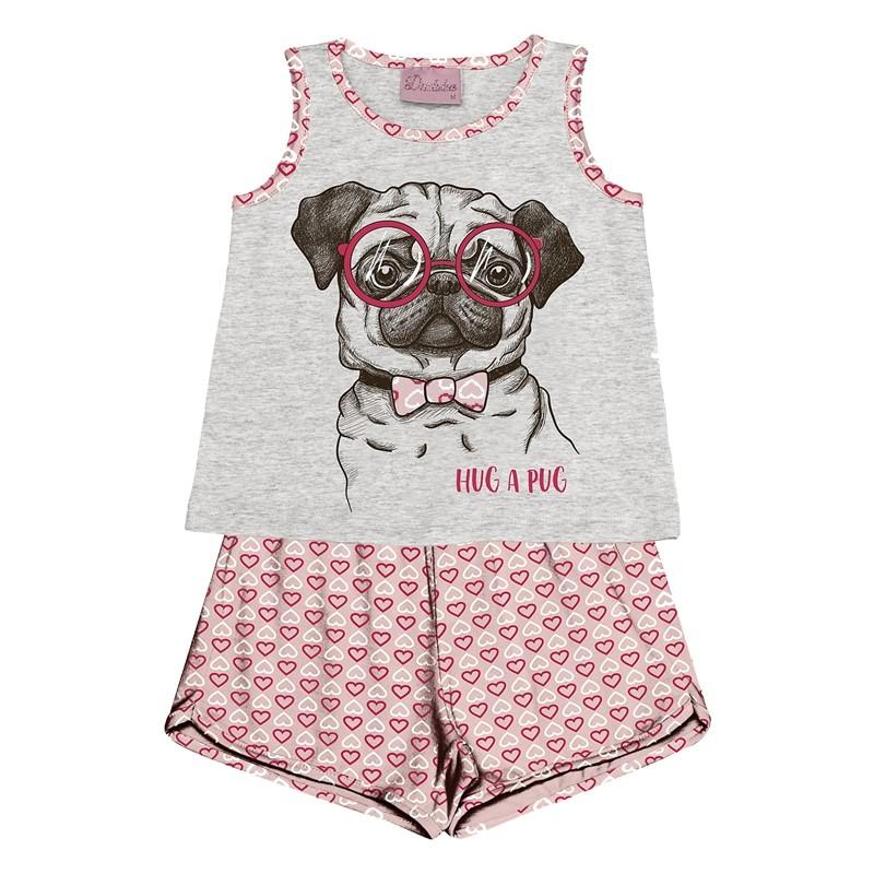 Conjunto Pijama Duduka Blusa com Shorts Bege