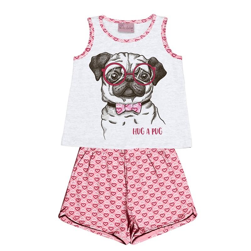 Conjunto Pijama Duduka Blusa com Shorts Branco