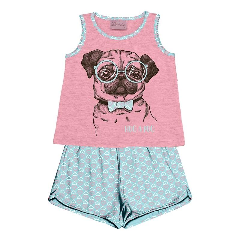 Conjunto Pijama Duduka Blusa com Shorts Rosa