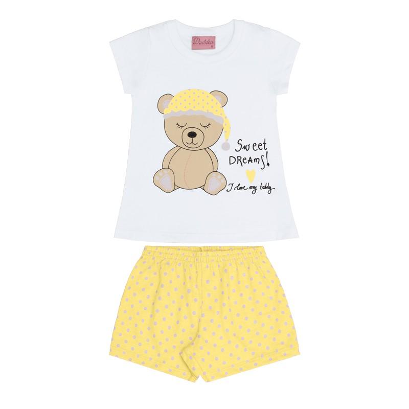 Conjunto Pijama Duduka Blusa e Shorts Ursinho Branco
