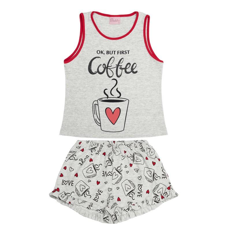 Conjunto Pijama Duduka Infantil Menina Cinza