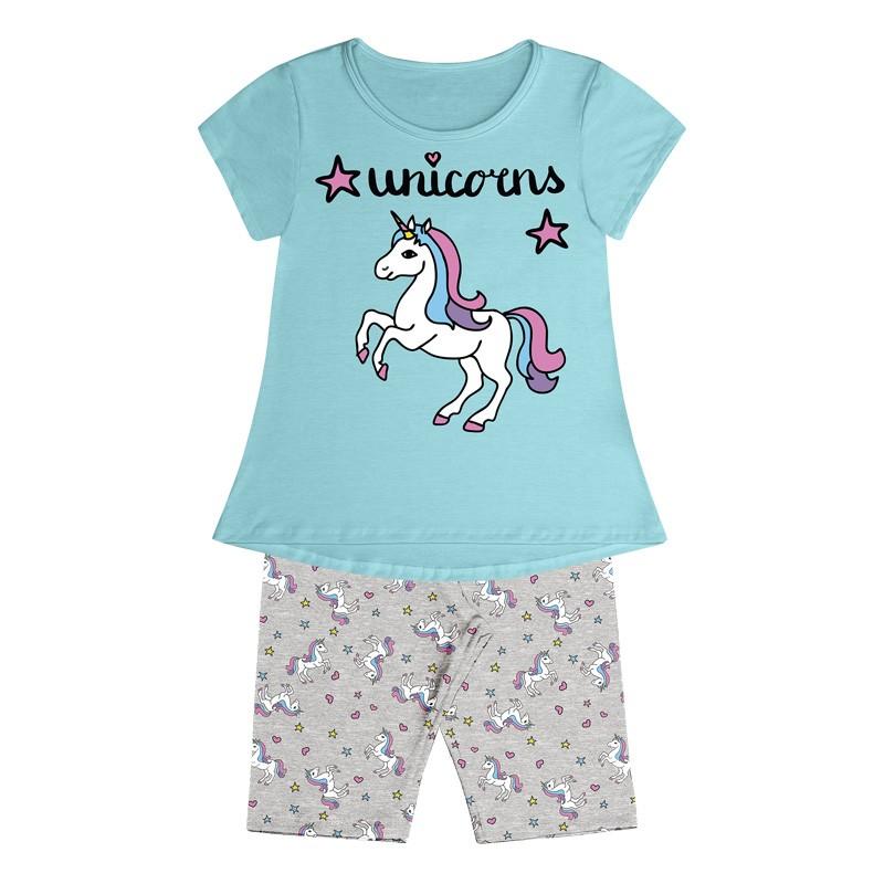 Conjunto Pijama Duduka  Infantil Menina Unicorns Azul