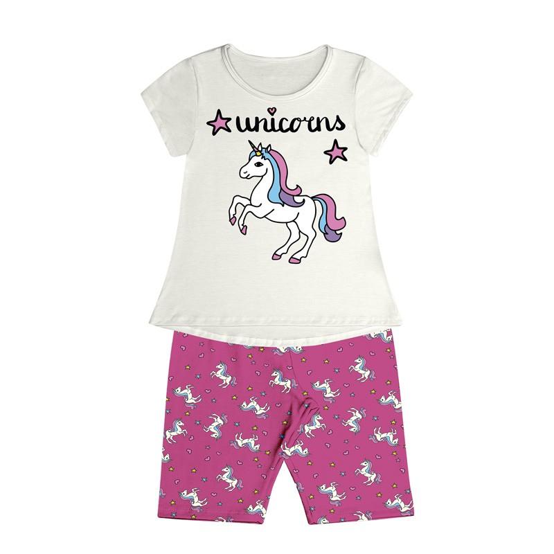 Conjunto Pijama Duduka  Infantil Menina Unicorns Bege