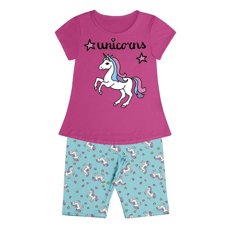 Conjunto Pijama Duduka  Infantil Menina Unicorns Rosa