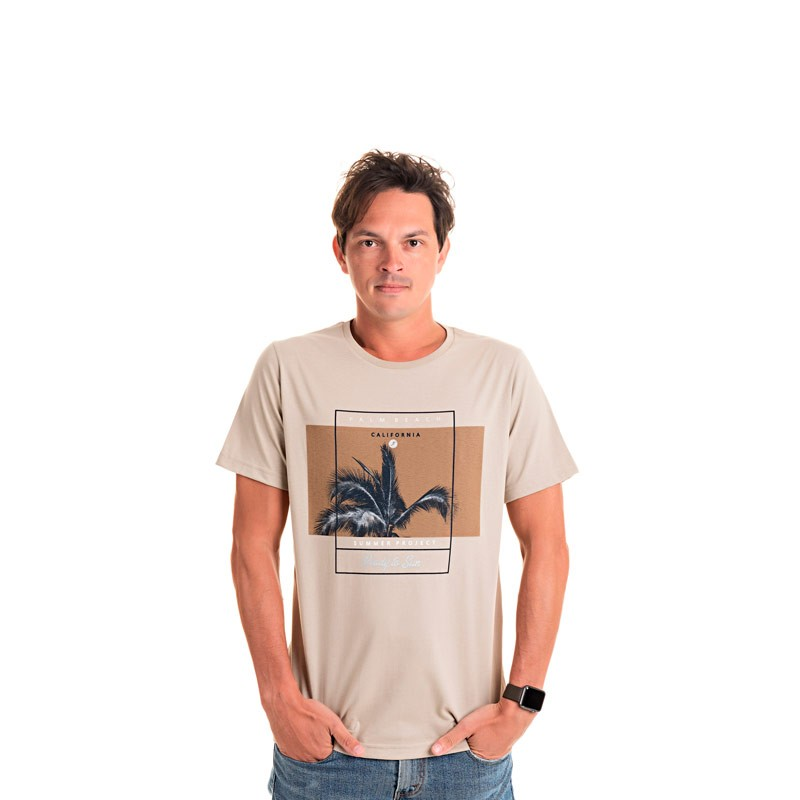 Camiseta Adulto Masculina California Bege