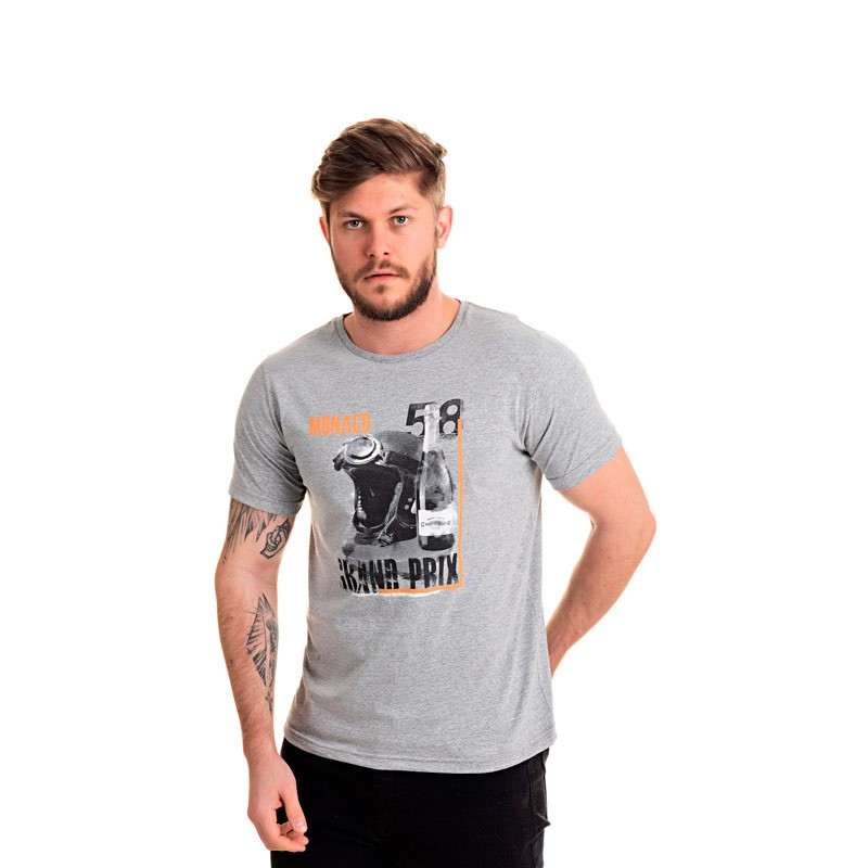 Camiseta Adulto Masculina Mônaco Cinza