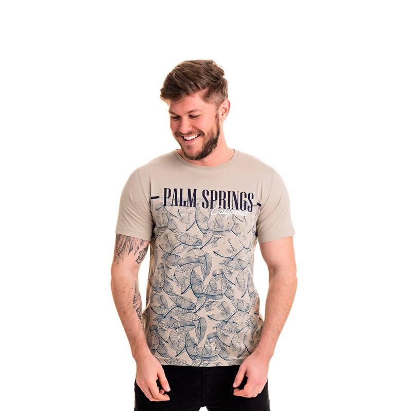 Camiseta Adulto Masculina Palm Bege