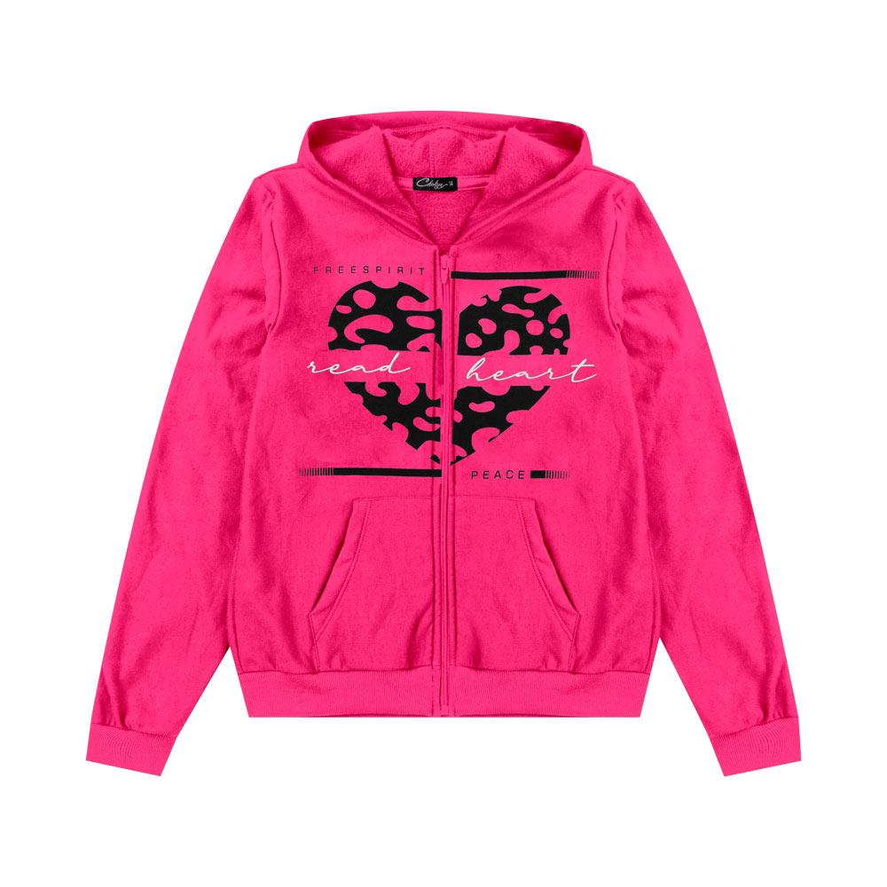 Jaqueta Cobertura Juvenil/Adulto Feminina Coração Rosa
