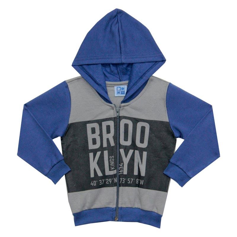 Jaqueta DDK com Capuz Infantil Menino Brooklyn Cinza