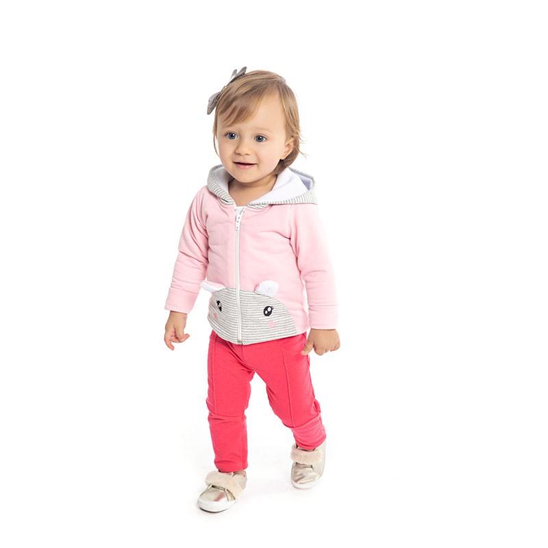 Jaqueta Duduka Infantil Menina em Moletinho Rosa