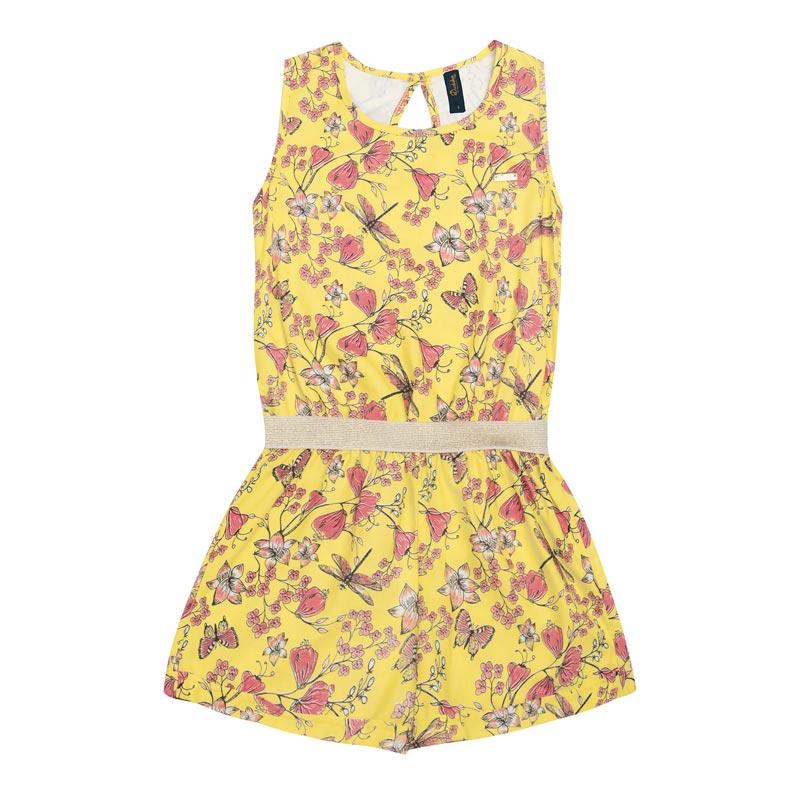 Macaquinho Duduka Infantil Menina Flores Amarelo