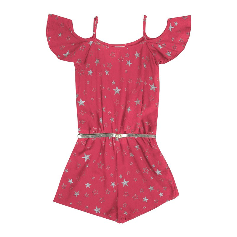 Macaquinho Infantil Menina Estrelas Rosa