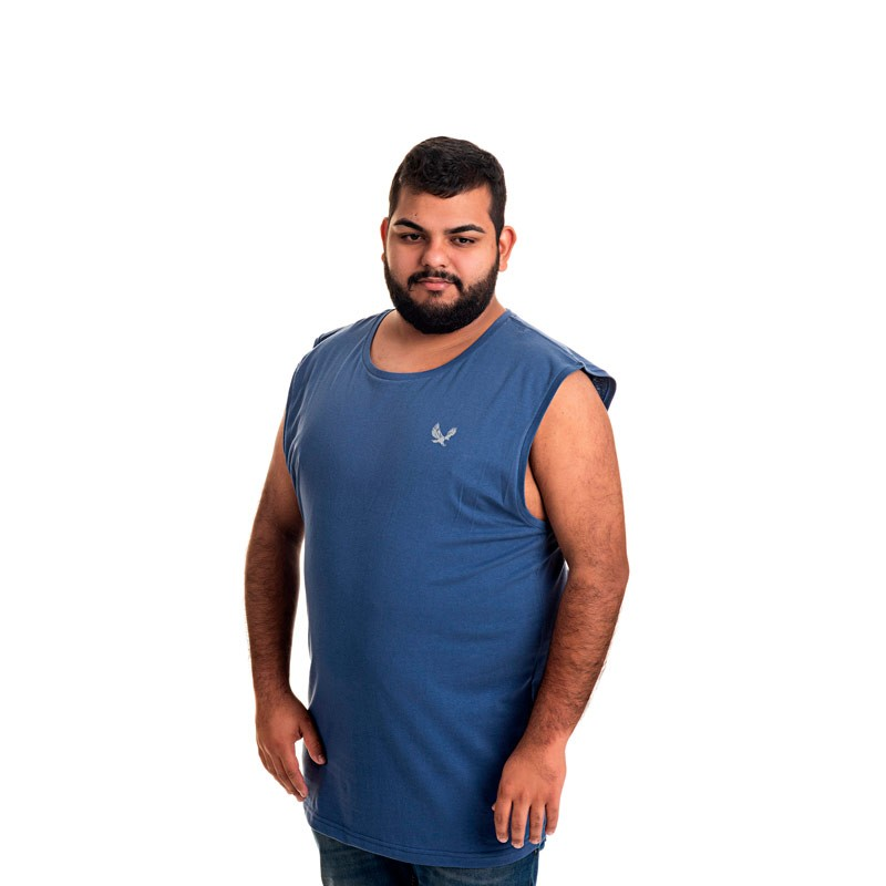 Machão Decoy Plus Size Masculino Básica Azul