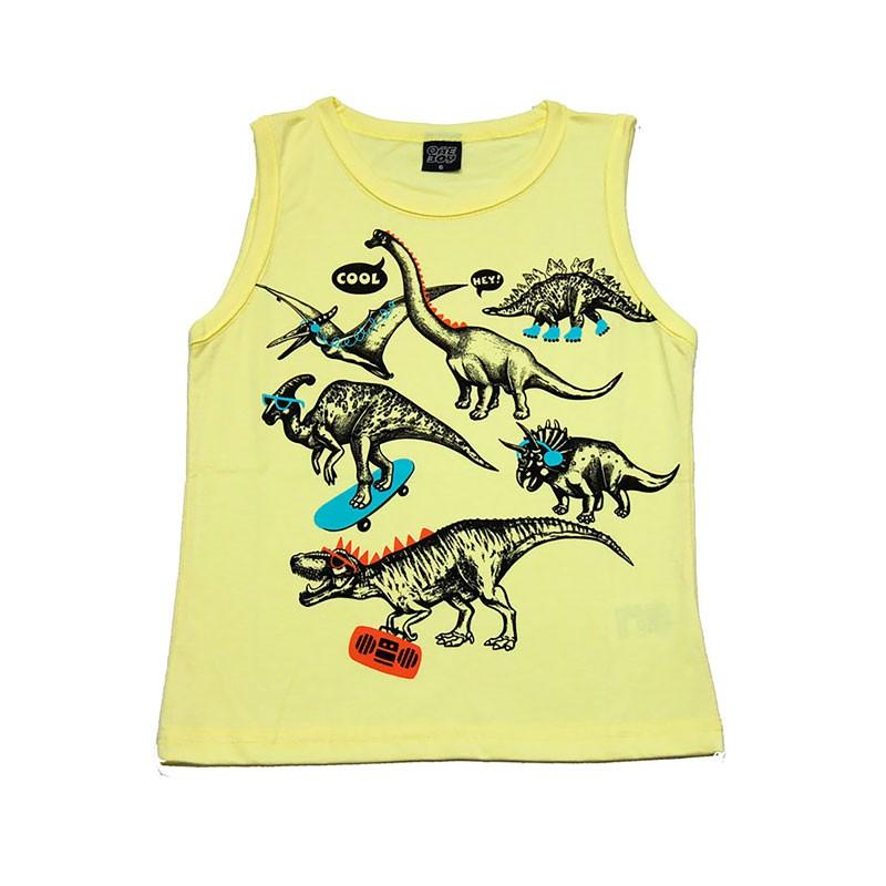 Machão Infantil Menino Dinossauros Amarelo