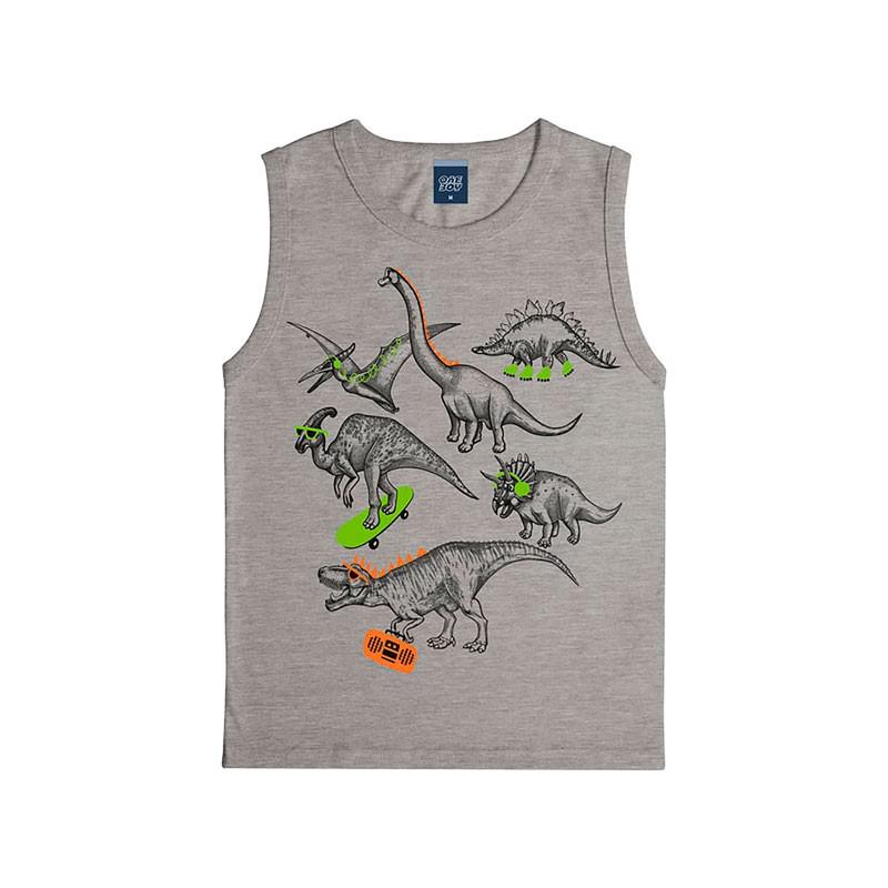 Machão Infantil Menino Dinossauros Cinza