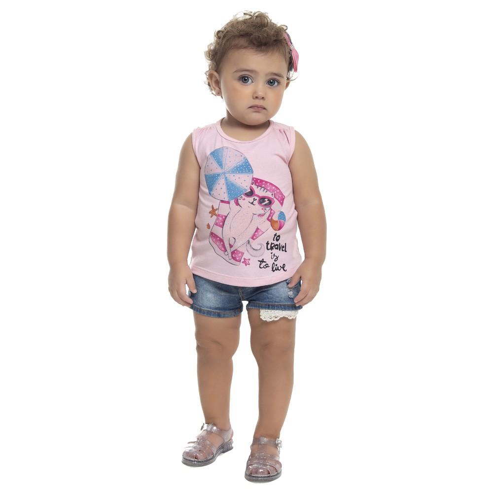 Regata Duduka Bebê Menina Gatinho Rosa