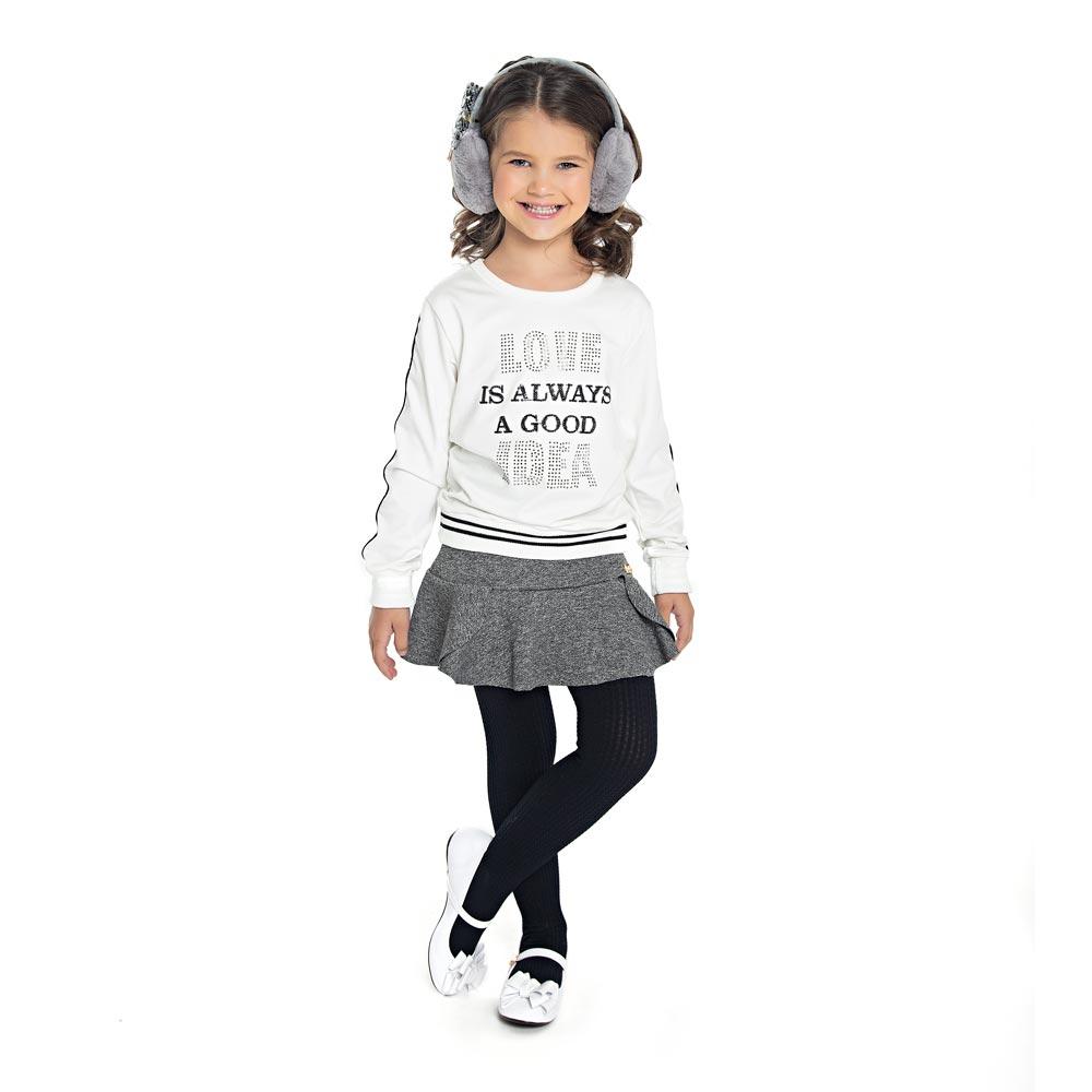 Saia Paytê Infantil Menina com Babado Cinza