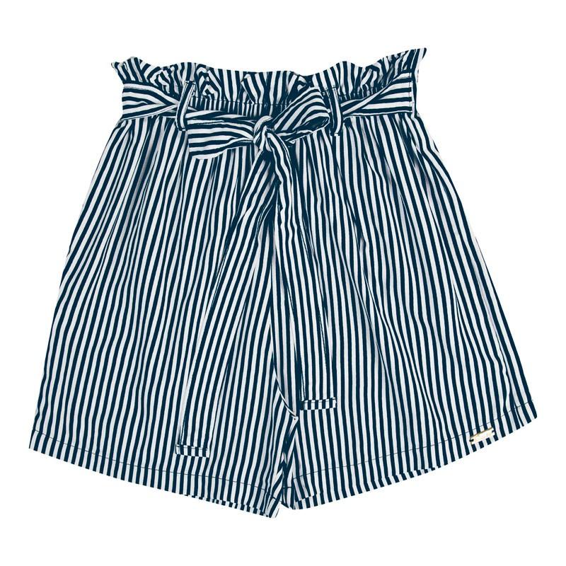 Short Infantil Menina Listrado Azul