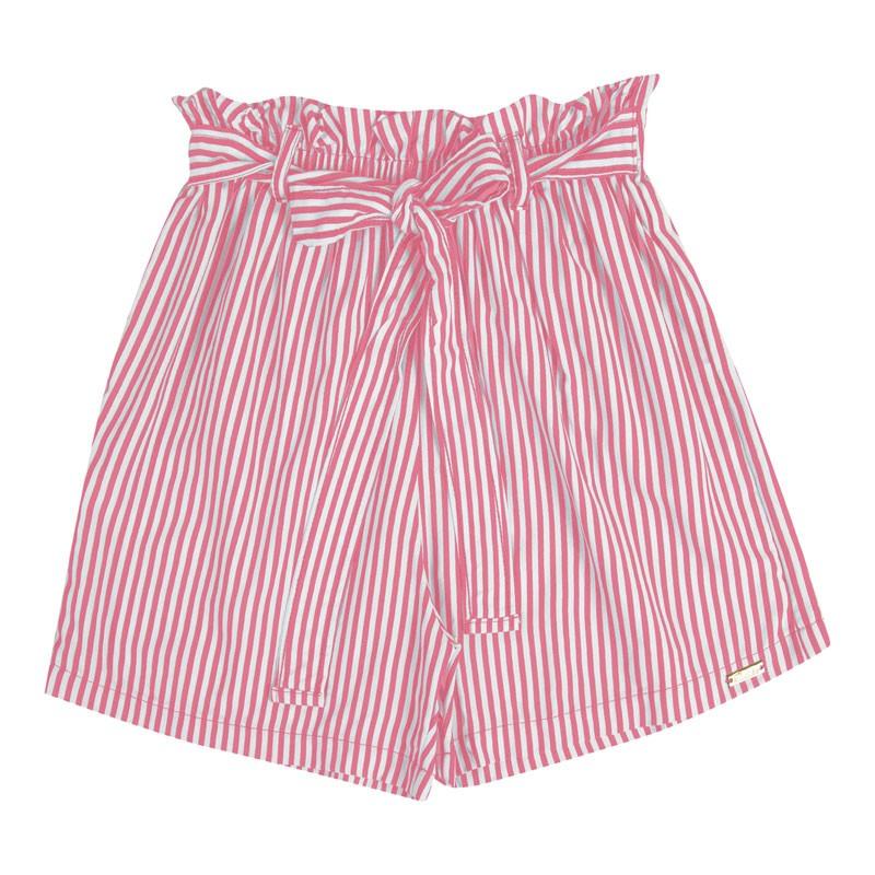 Short Infantil Menina Listrado Rosa