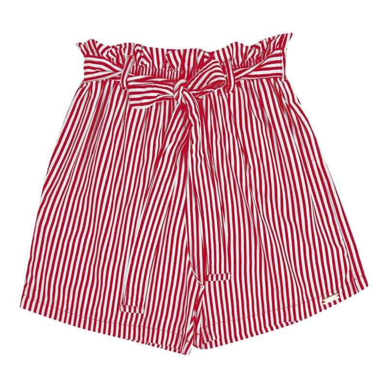 Short Infantil Menina Listrado Vermelho