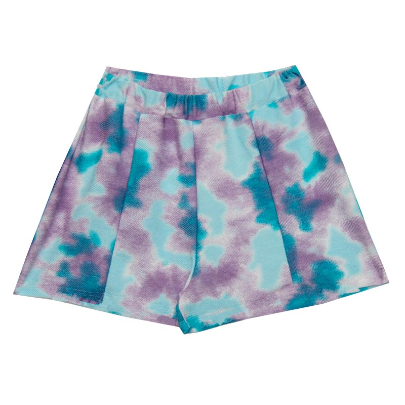 Shorts Feminina Adulto Tie Dye Azul