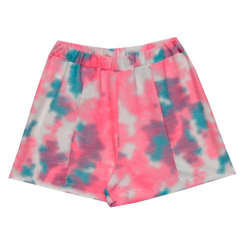 Shorts Feminina Adulto Tie Dye Rosa