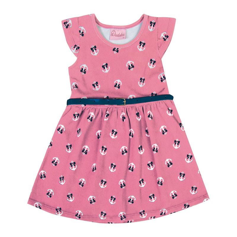 Vestido Bebê Menina Âncora Rosa