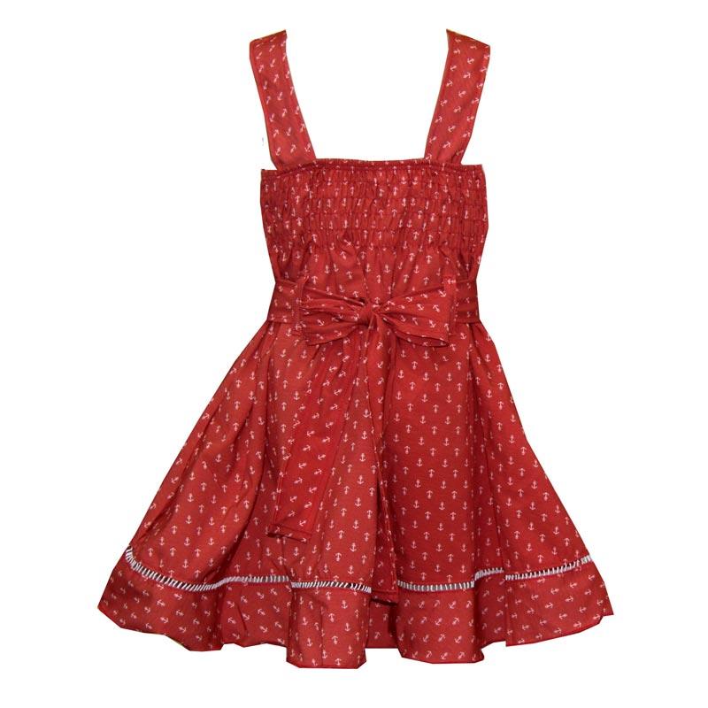Vestido Bebê Menina Âncora Vermelho