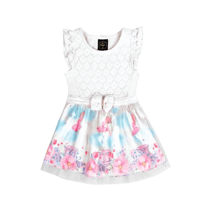 Vestido Paytê Infantil Menina Bailarina Branco