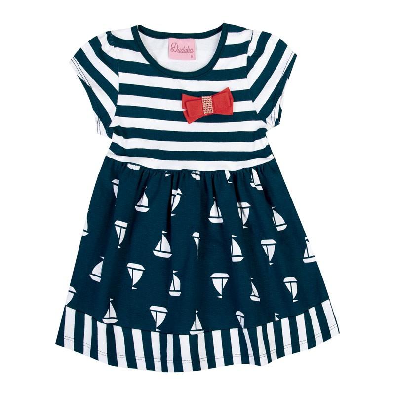 Vestido Bebê Menina Barco Azul