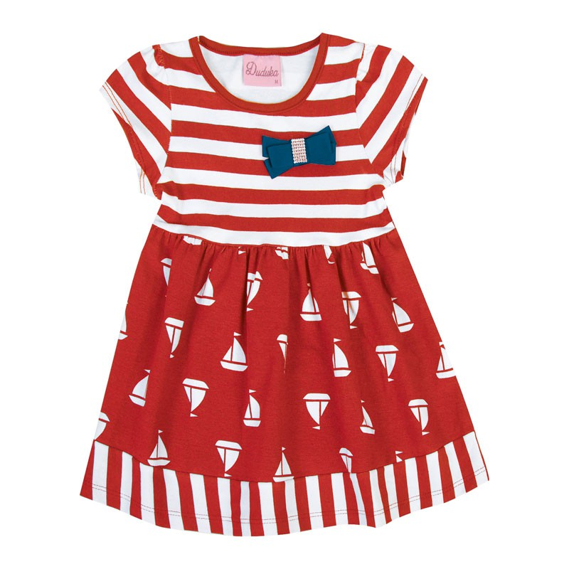 Vestido Bebê Menina Barco Vermelho